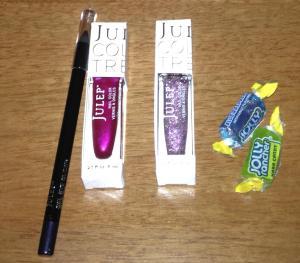 Plum gel liner pencil, Neha (gloss dark pink), Queen Anne (purple glitter), and my Jolly rancher spoils)